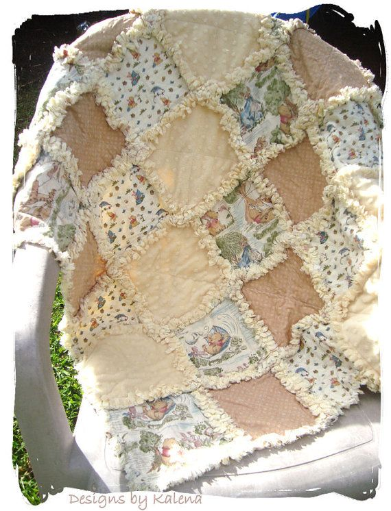 Winnie the Pooh Rag Quilt - Minky Chenille - Neutral - Boy or Girl - Windy Day Classic Quilt ...