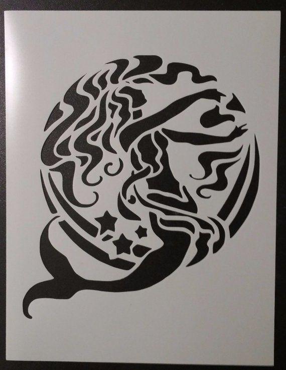 "Tribal Artistic Mermaid and Moon 8.5/"" x 11/"" Custom Stencil FAST FREE SHIPPING"