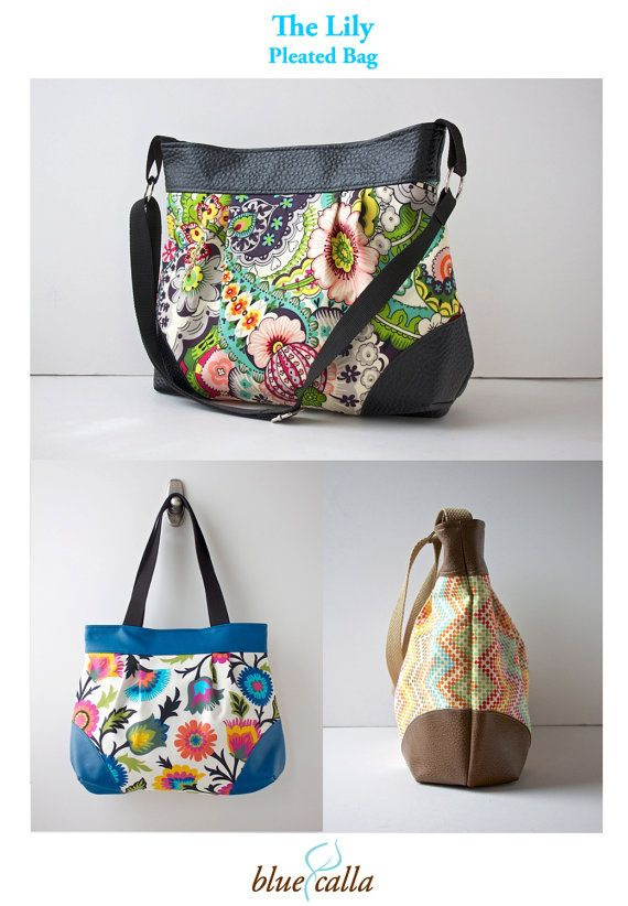 The Lily Pleated Bag PDF SEWING PATTERN by BlueCallaPatterns | DYI ...
