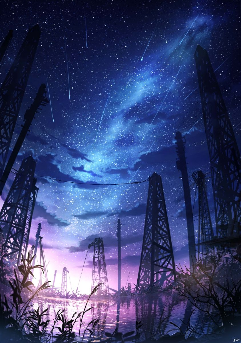 #風景 芦苇旁の星光 - 画师JWのイラスト - pixiv