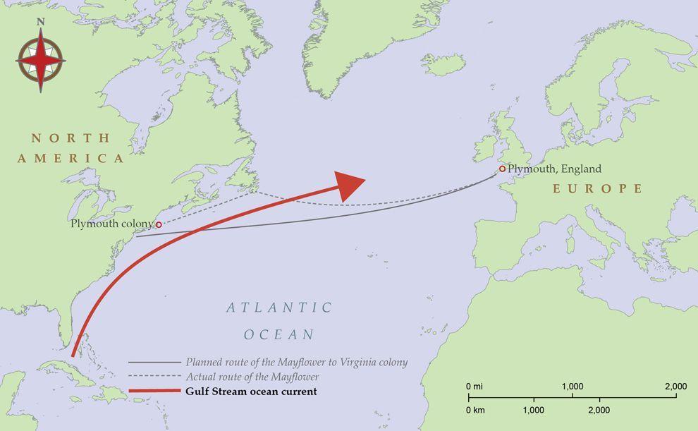 Image result for ocean currents map pilgrim puritan