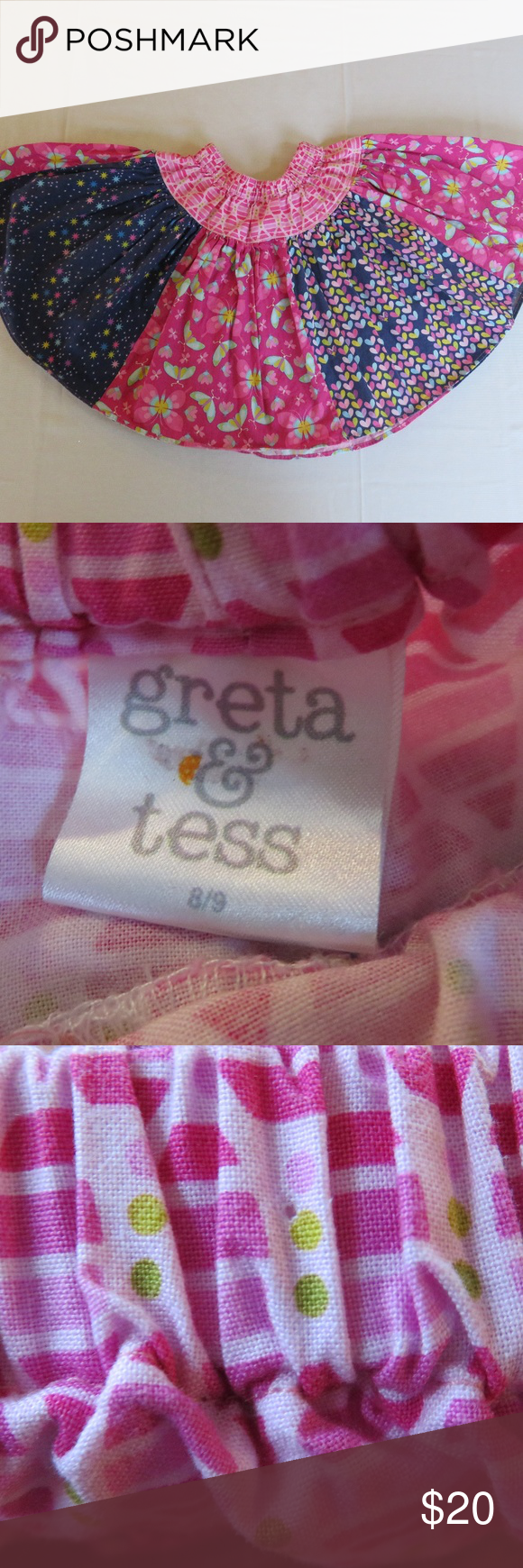 Greta & Tess Boutique Twirl Skirt Girls 8/9 This super-cute, very twirly skirt in a girls size 8/9 is from Greta & Tess, a boutique clothing brand.The skirt's panels feature butterflies, stars and hearts in shades of blue, purple, pink and yellow. It's in good used condition for normal wash wear and a pinhole in the front along the elastic waistband (see picture). Although the skirt doesn't have a tag describing the material, it feels like cotton.  Bundle: I have another Greta & Tess skirt size  #twirlskirt