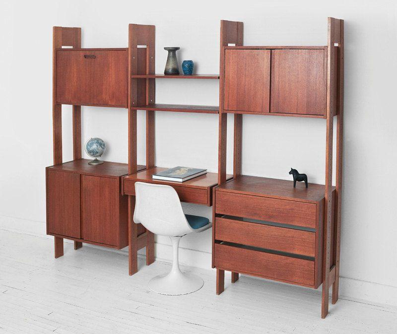 Vintage Modular Teak Wall Unit Mid Century Modern Shelving Unit Credenza Shelf Desk 収納棚 家具 収納