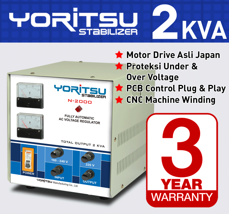 Stabilizer Yoritsu N-2000 kapasitas 2 KVA.  http:// hexta.co.id, email : sales@hexta.co.id, Telp : (021) 2925-5900, 2925-5905 (Huntings)
