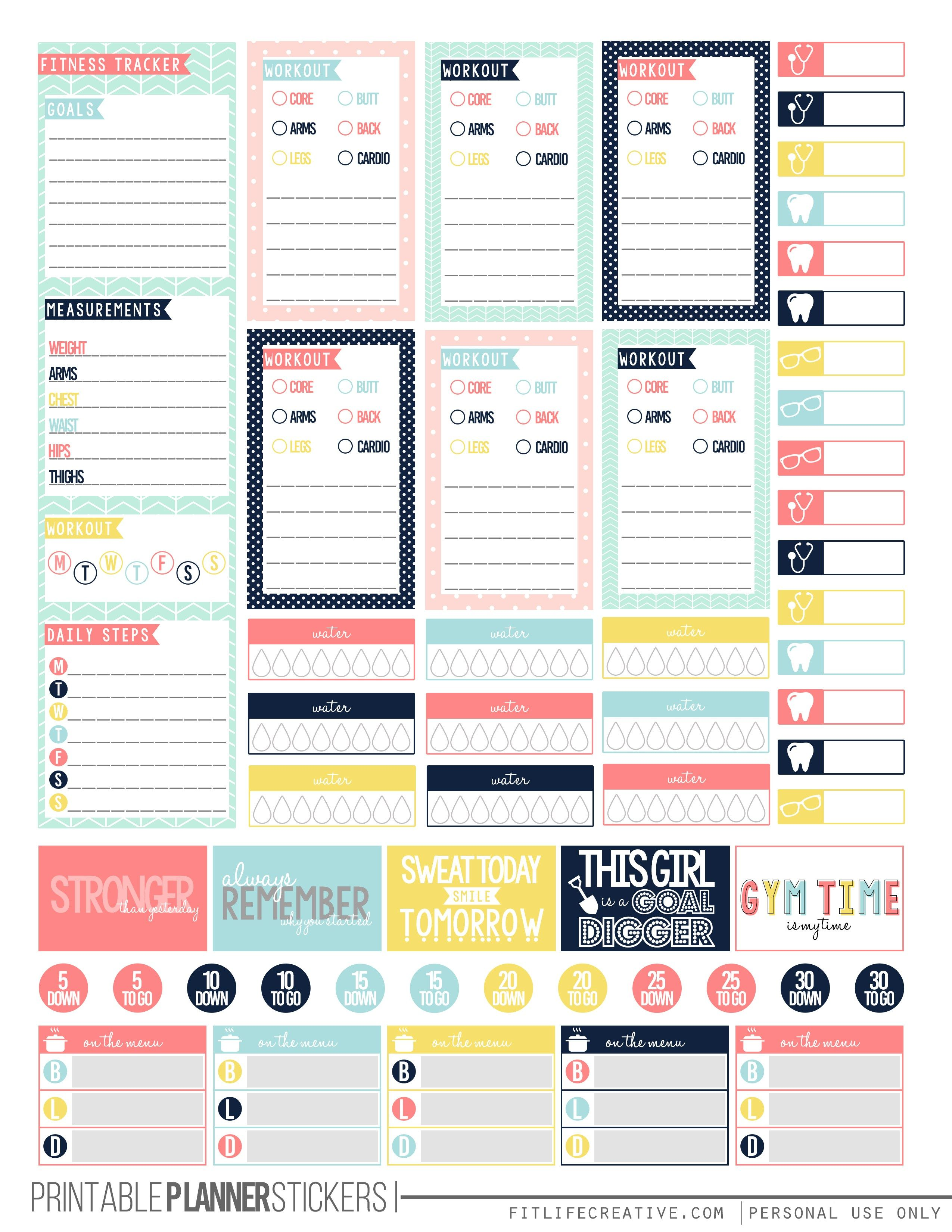 Free Pretty Pastel Fitness Planner Stickers Printables Pinterest