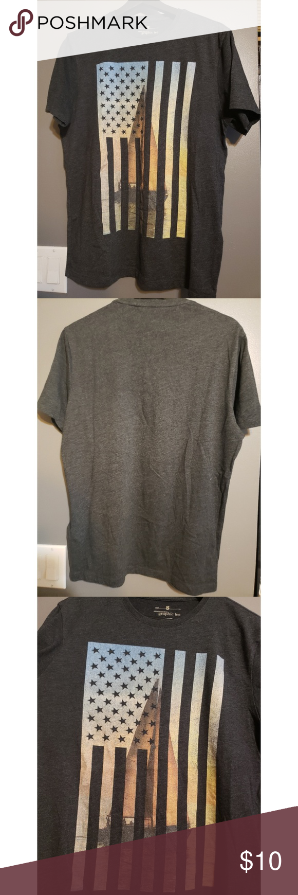 Banana Republic Factory grey graphic t, size S Cotton
