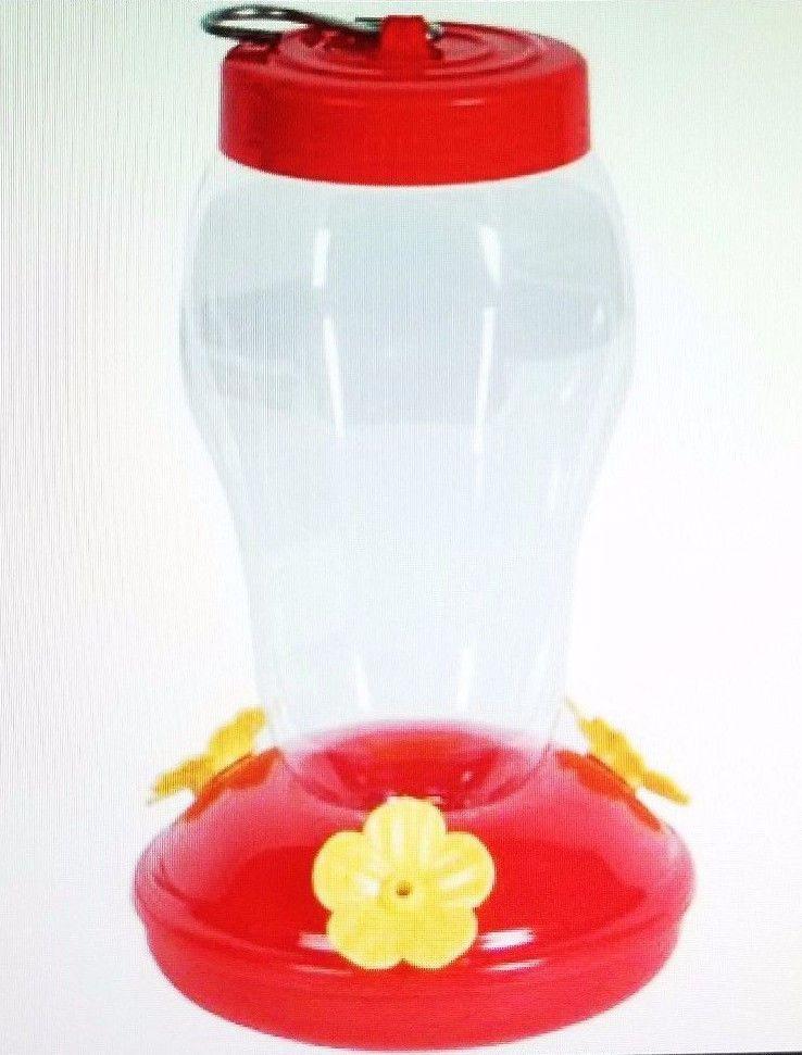 Red Plastic Hummingbird Feeder Nectar Flower. Size is 4.25