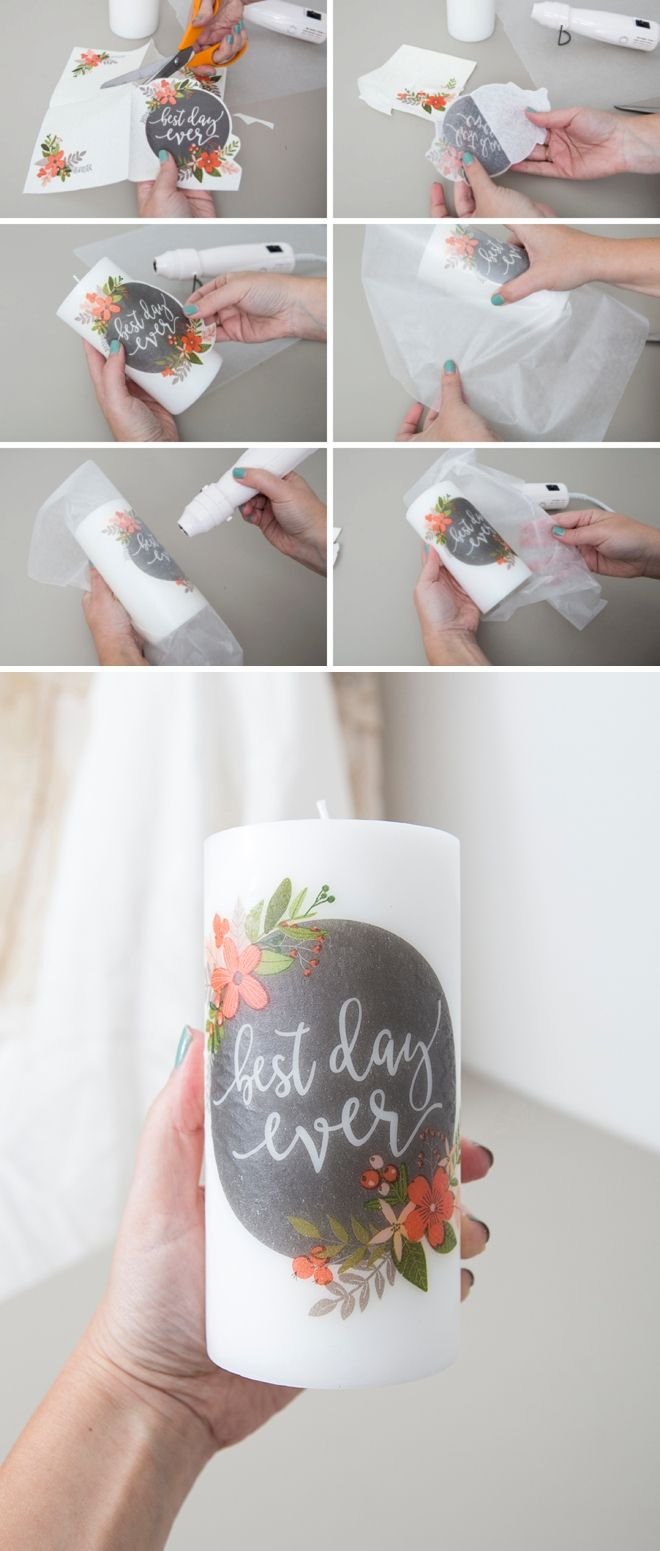 3 Killer Ways To Personalize Plain Pillar Candles For Your Wedding! #weddinggift