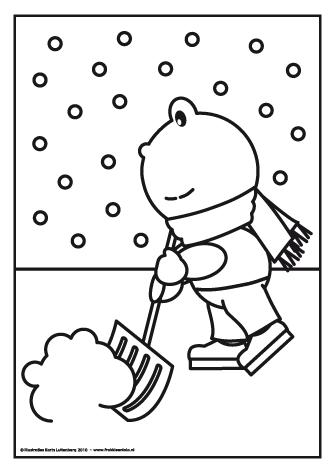 frokkie met de sneeuwschuiver met afbeeldingen