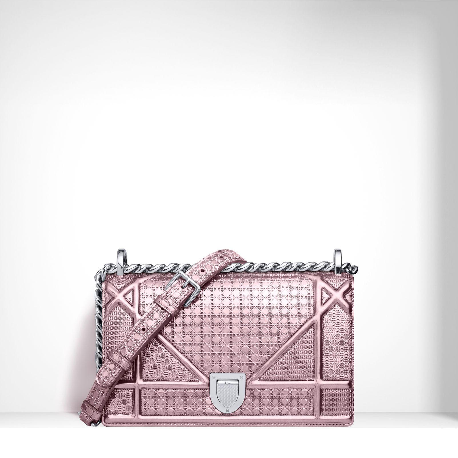 Dior Pink Perforated Calfskin Diorama Small Bag  810eeb393370c