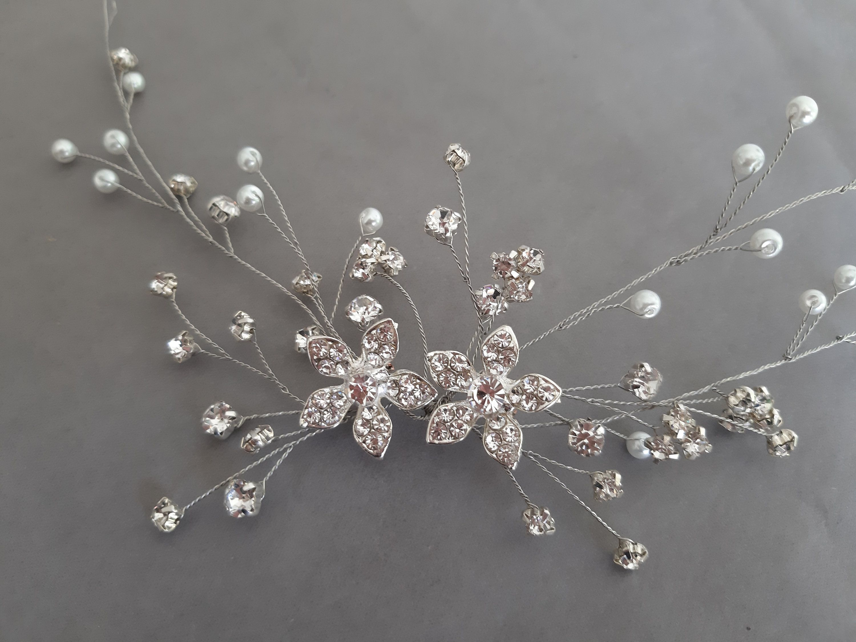 Silver color sparkly rhinestone leaves headband bridal hair accessories