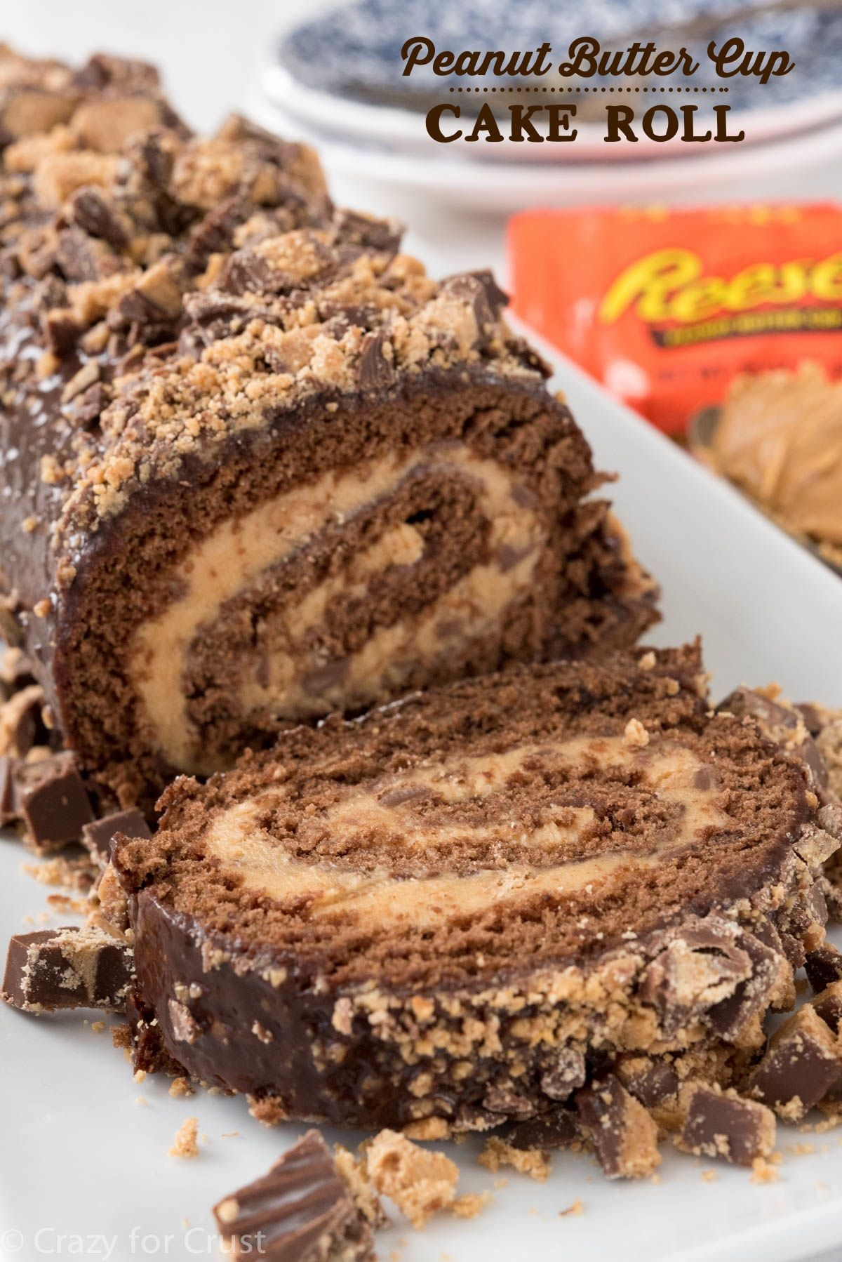 Peanut Butter Cup Cake Roll - Crazy for Crust