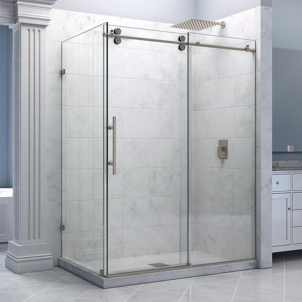 Dreamline Shen 60366012 07 Enigma 36 By 60 1 2 Sliding Shower Enclosure Clear 1 Frameless Shower Enclosures Shower Enclosure Frameless Sliding Shower Doors