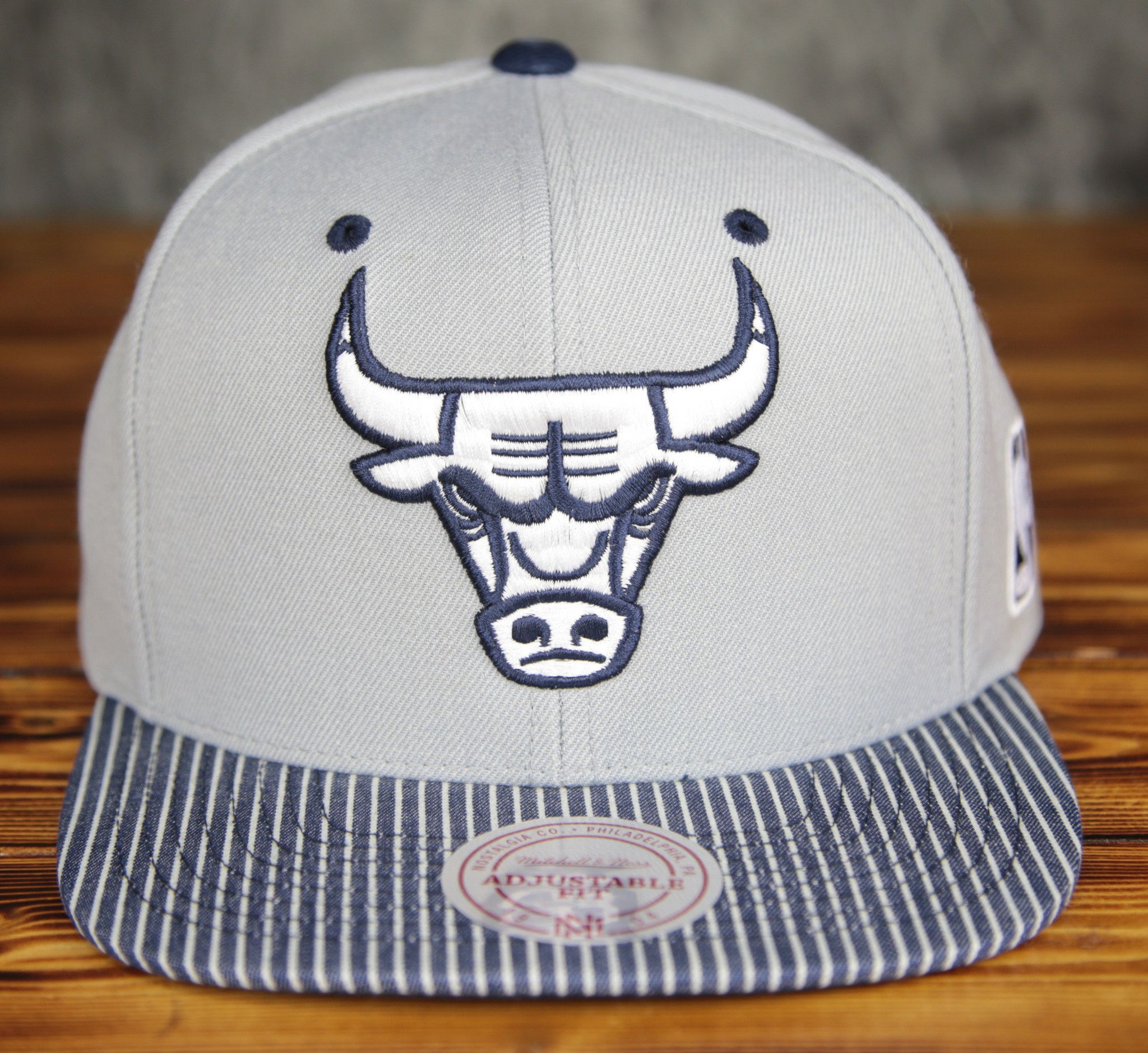 Chicago Bulls Mitchell Ness Grey Crown Navy Denim Snapback Hat Snapback Hats Hats Chicago Bulls