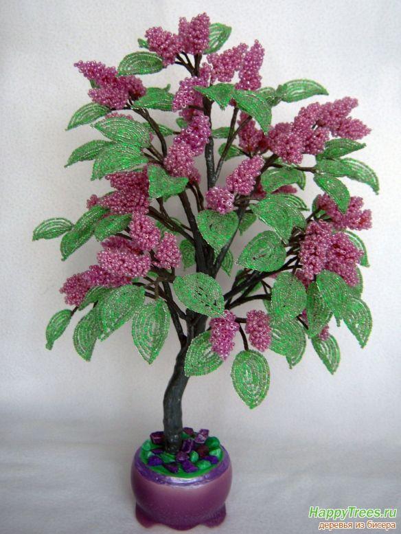 Дерево из бисера - Сирень из