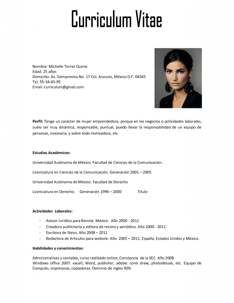 Qué es un Curriculum Vitae | workinggirl | Pinterest | Ejemplos de ...