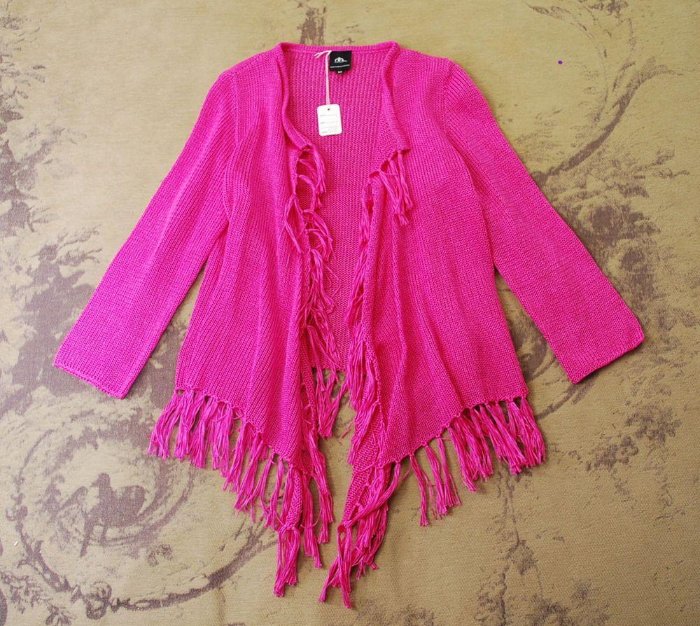 Heidi Hess Hot Pink Hand Loomed Fringe Draped Open Cardigan Sweater