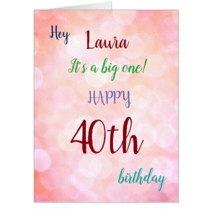 Large Happy 40th Birthday Design Greeting Card