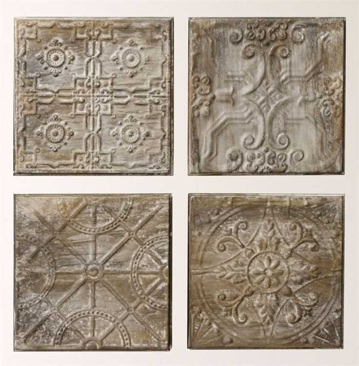 Moroccan Quartet Metal Wall Tiles Vintage Tin Tiles Tile Wall Art Embossed Ceiling Tiles