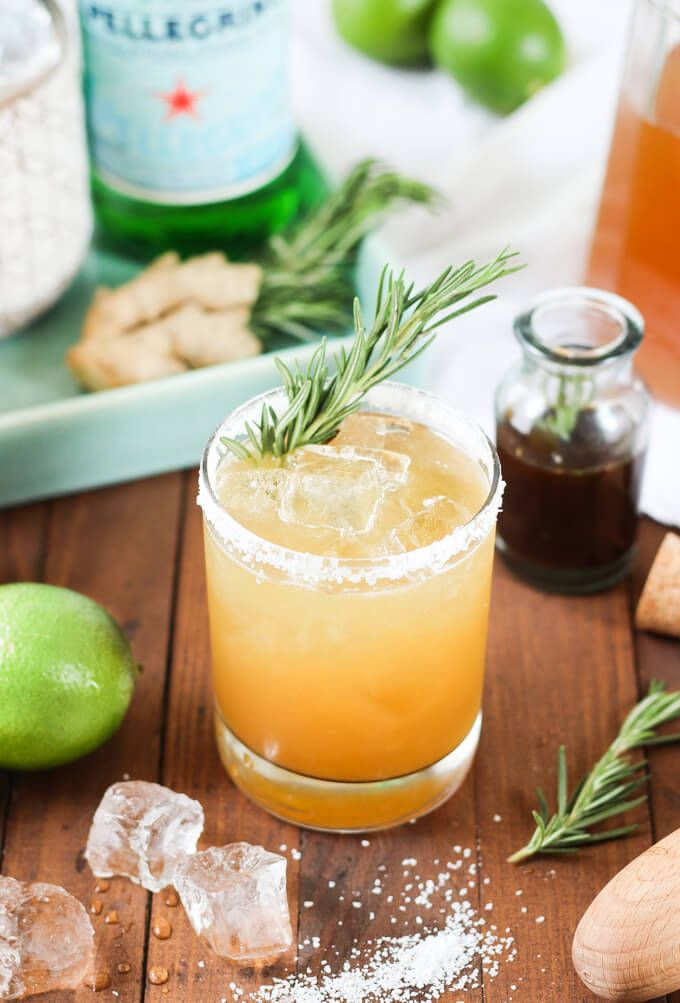 Rosemary Ginger Margarita: tequila, lime juice, rosemary ginger simple syrup, club soda