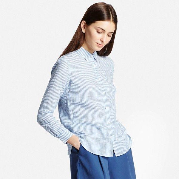 659a82491884b UNIQLO Women Premium Linen Patterned Long Sleeve Shirt ($30 ...