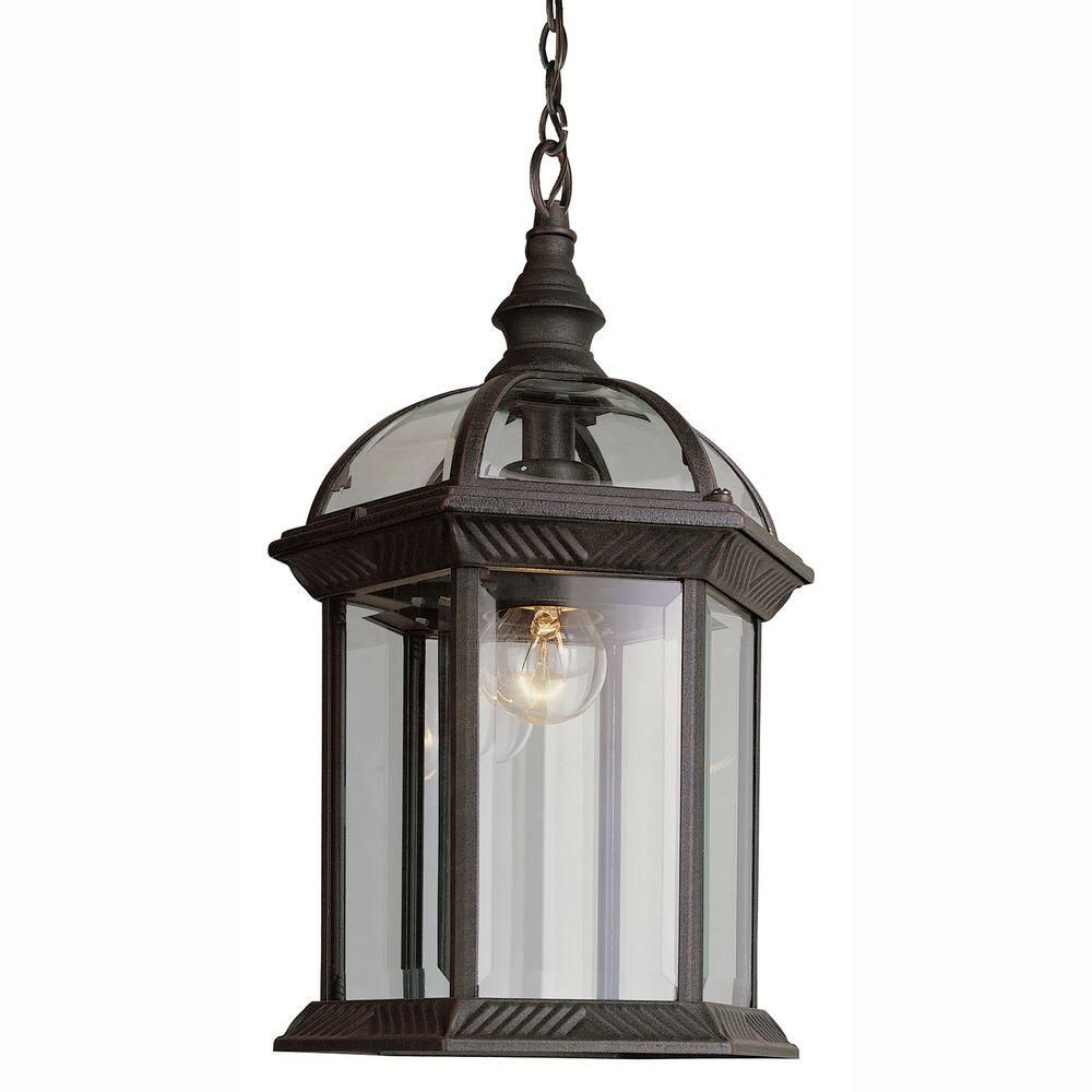 Atrium 1 Light Outdoor Hanging Rust Lantern With Clear Glass Good Looking