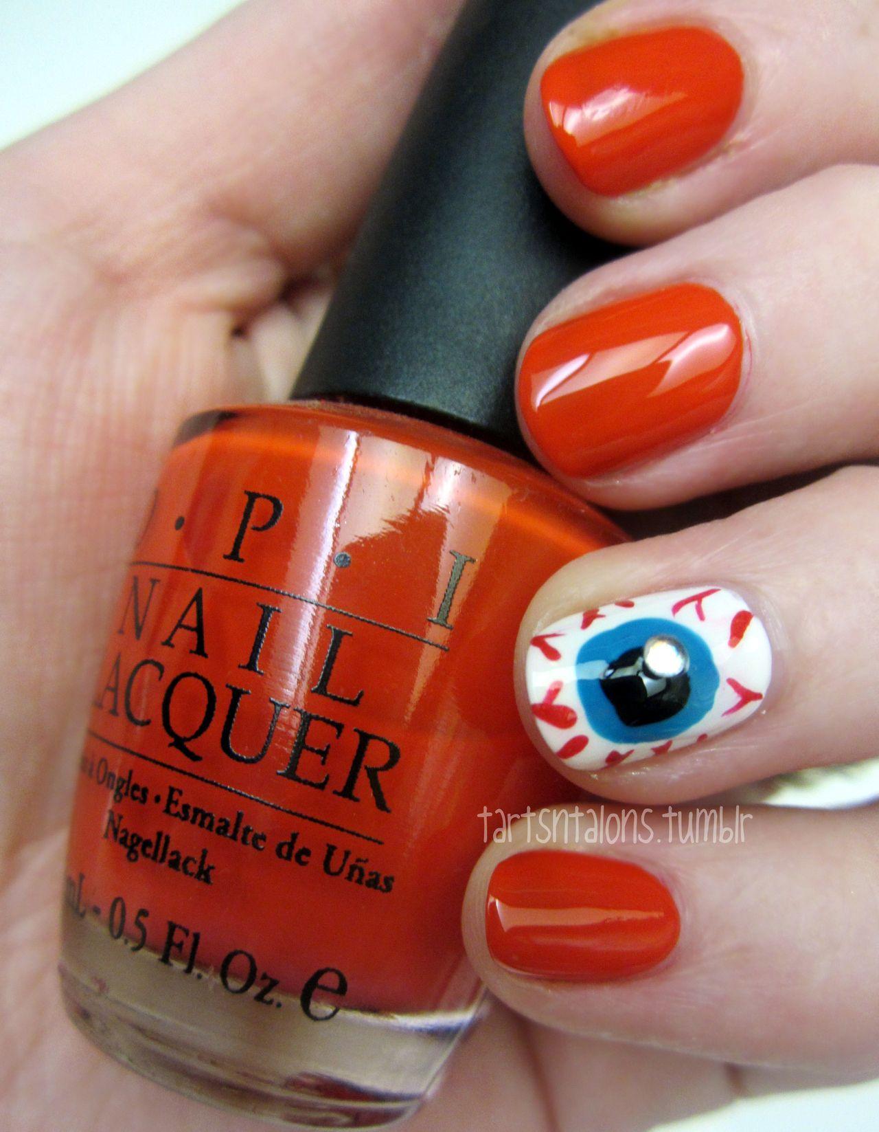 OPI Monsooner or Later and eyeball nail art   Tarts N Talons Nail ...