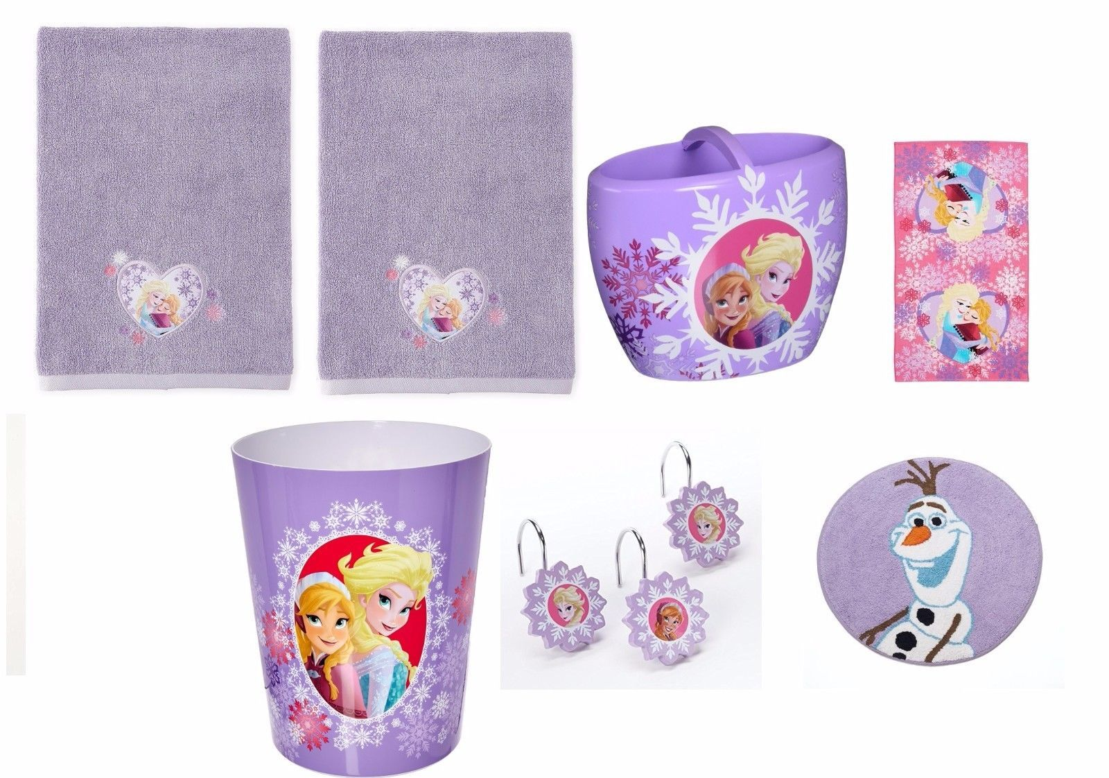18-Piece Disney Frozen Kid s Purple Bathroom Accessory Set (Elsa ...