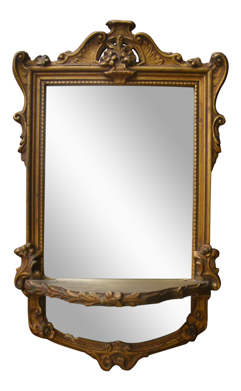 Lovely Petite French Style Wall Mirror With A Display Shelf Circa