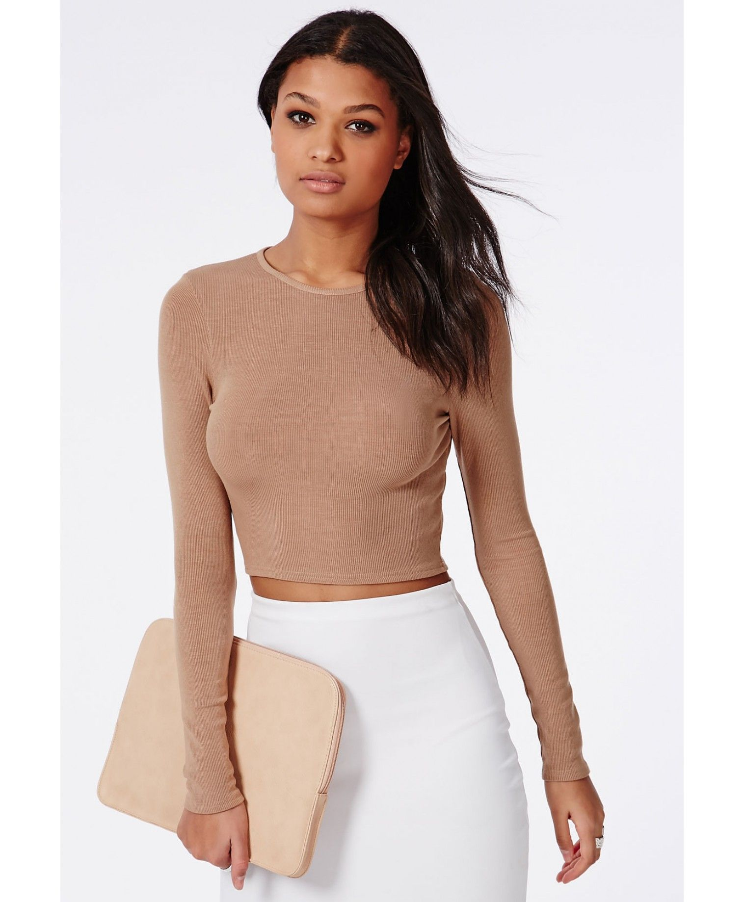 b0551c8e791 Ribbed Long Sleeve Crop Top Camel - Tops - Long Sleeve Tops - Missguided