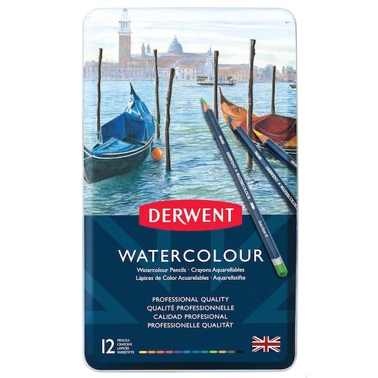 Derwent Watercolor Pencil 12 Color Tin Set Derwent Colored
