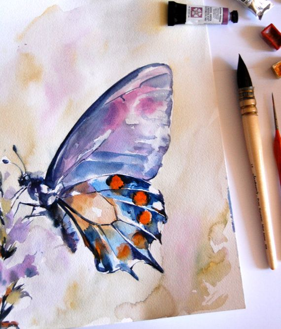 Blue Purple Butterfly Watercolor Painting Original Watercolor