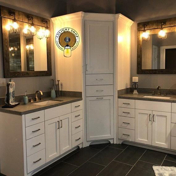 Ebony Bathroom Set Of 2 Vanity Mirror With Light Fixture Etsy Bathroom Sets Bathroom Decor