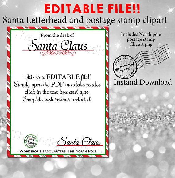 christmas santa letterhead and canceled north pole postage mark png clipart diy editable letter from santa digital printable