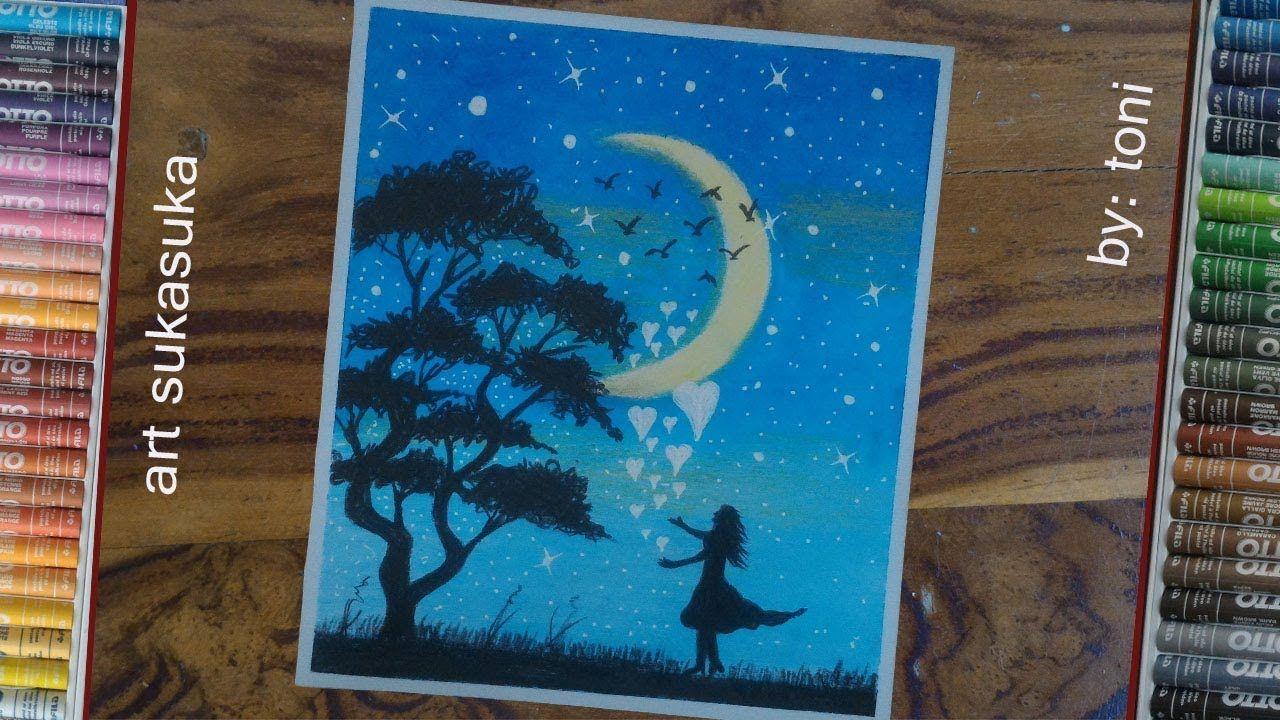cara menggambar pemandangan malam simple dan mudahgambar