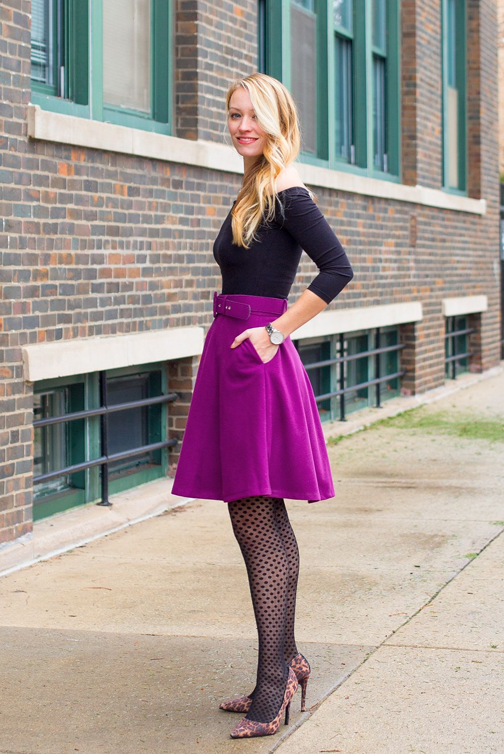 skirt – Rosegal (c o) top – H M (similar) tights – Hue pumps – Target  (similar) watch – Kate Spade earrings – Kenneth Jay Lane necklace – The  Limited ... 0880a2f24