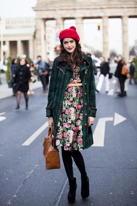 Dark floral +green plaid + red hat and I love the photo in the middle of the street.
