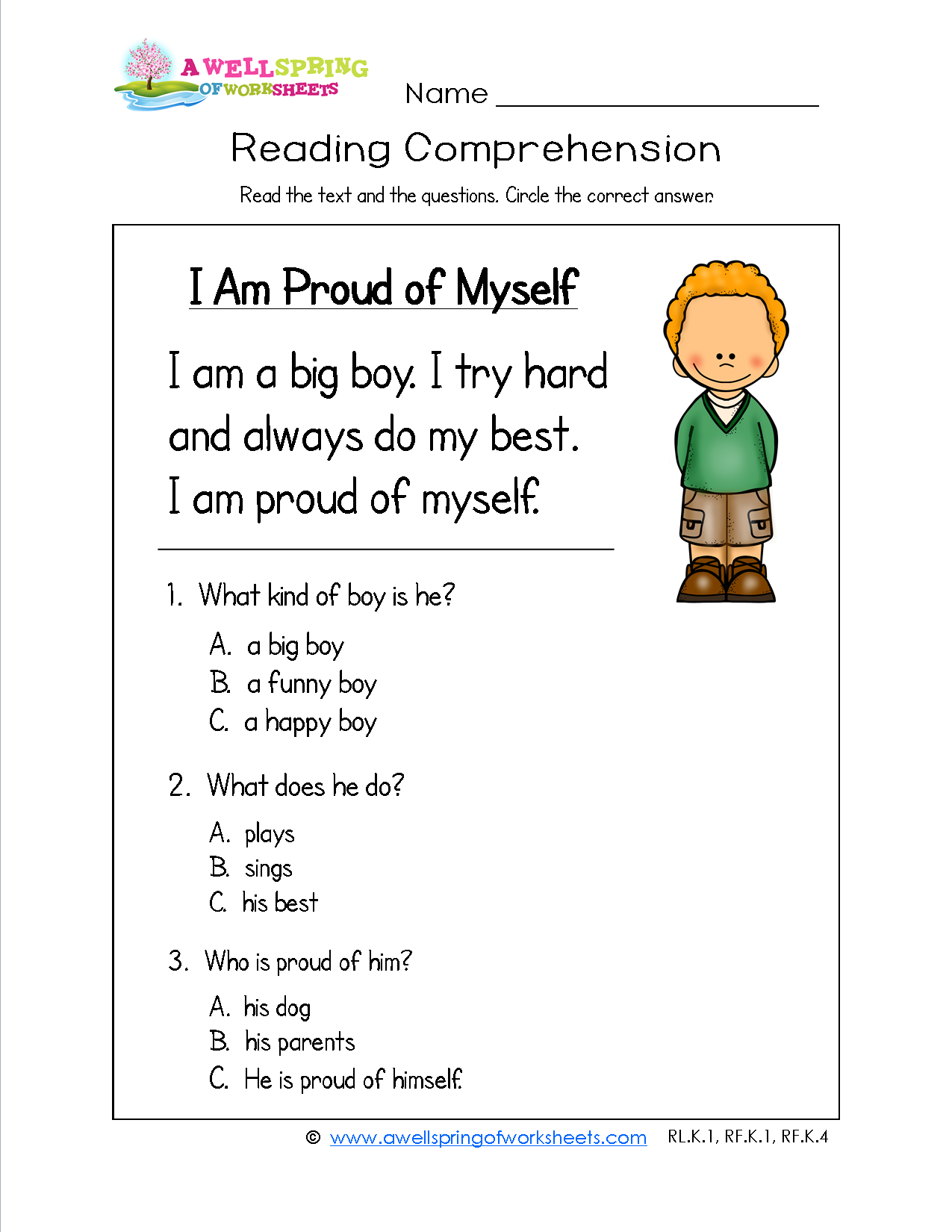worksheet Myself Worksheet For Kindergarten grade level worksheets guided reading levels passages and every kid needs to feel proud of themselves this kindergarten comprehension worksheet reinforces that