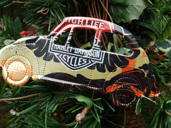 motorcycle miller recycled beer can christmas by carolinacarla
