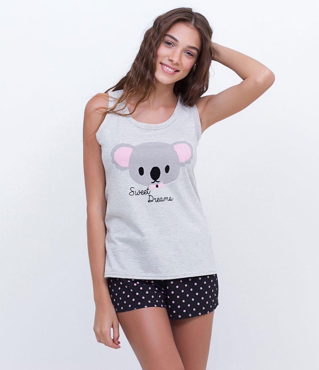 992da38fba3f88 Pijama feminino Sem mangas Estampada Short Marca: Lov Tecido: Meia ...