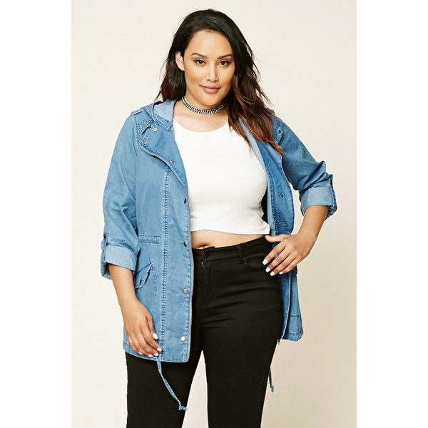 ba2f2017918 Forever 21 Plus Women s Plus Size Chambray Utility Jacket ( 35) ❤ liked on  Polyvore featuring forever 21