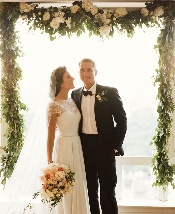 Altar Bound Wedding Dresses: Dress & Veil: Katie Ermilio; Flowers: Amy Merrick