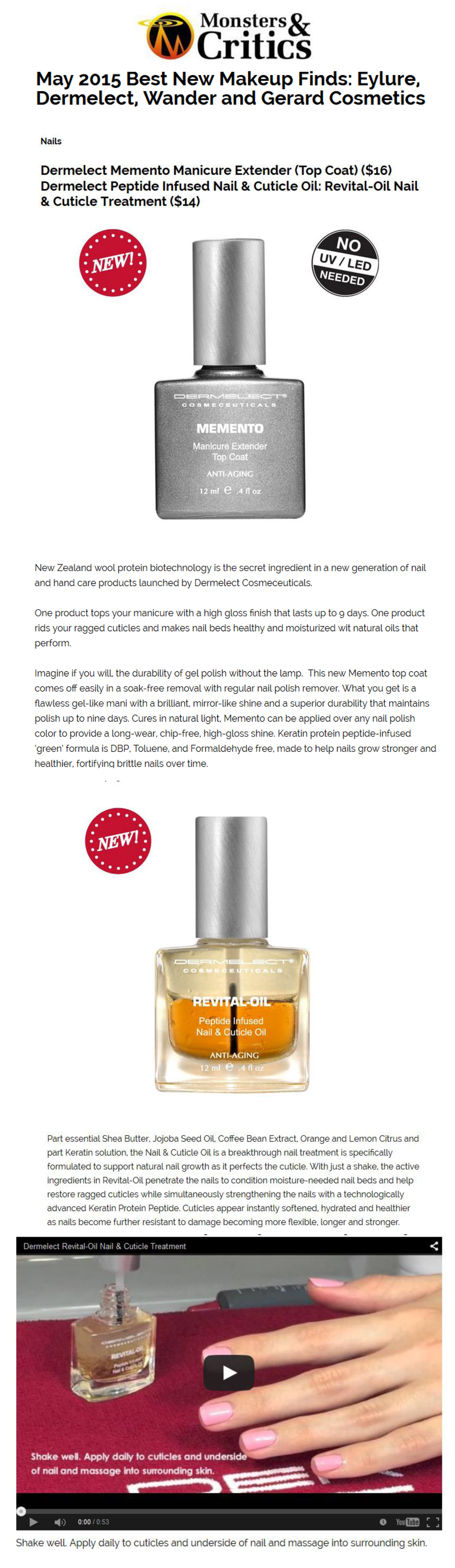 May 2015 Best New Makeup Finds: Dermelect Memento Manicure Extender ...