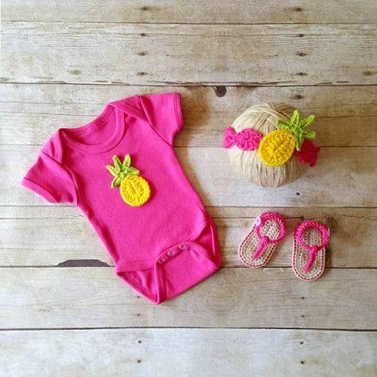 563892614 Baby Crochet Pineapple Onesie Headband Sandals Set Baby Shoes Booties  Slippers Hair Accessory Handmade Baby Shower Gift Present