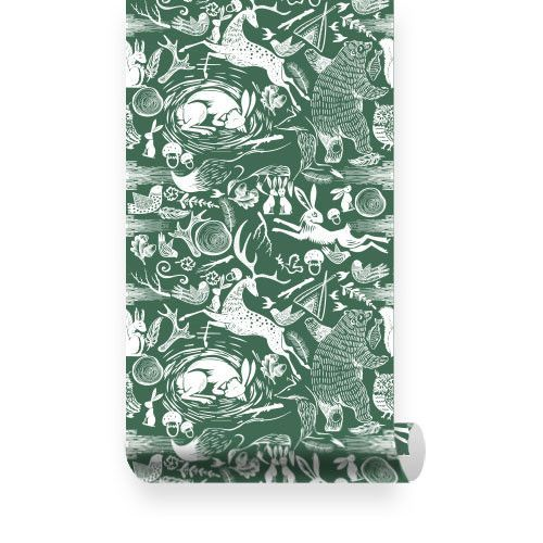 Linocut Animal Removable Wallpaper Fabric wallpaper