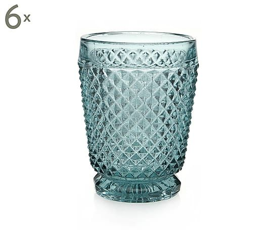 Set van 6 glazen Diamond, transparant blauw, H 10,5 cm