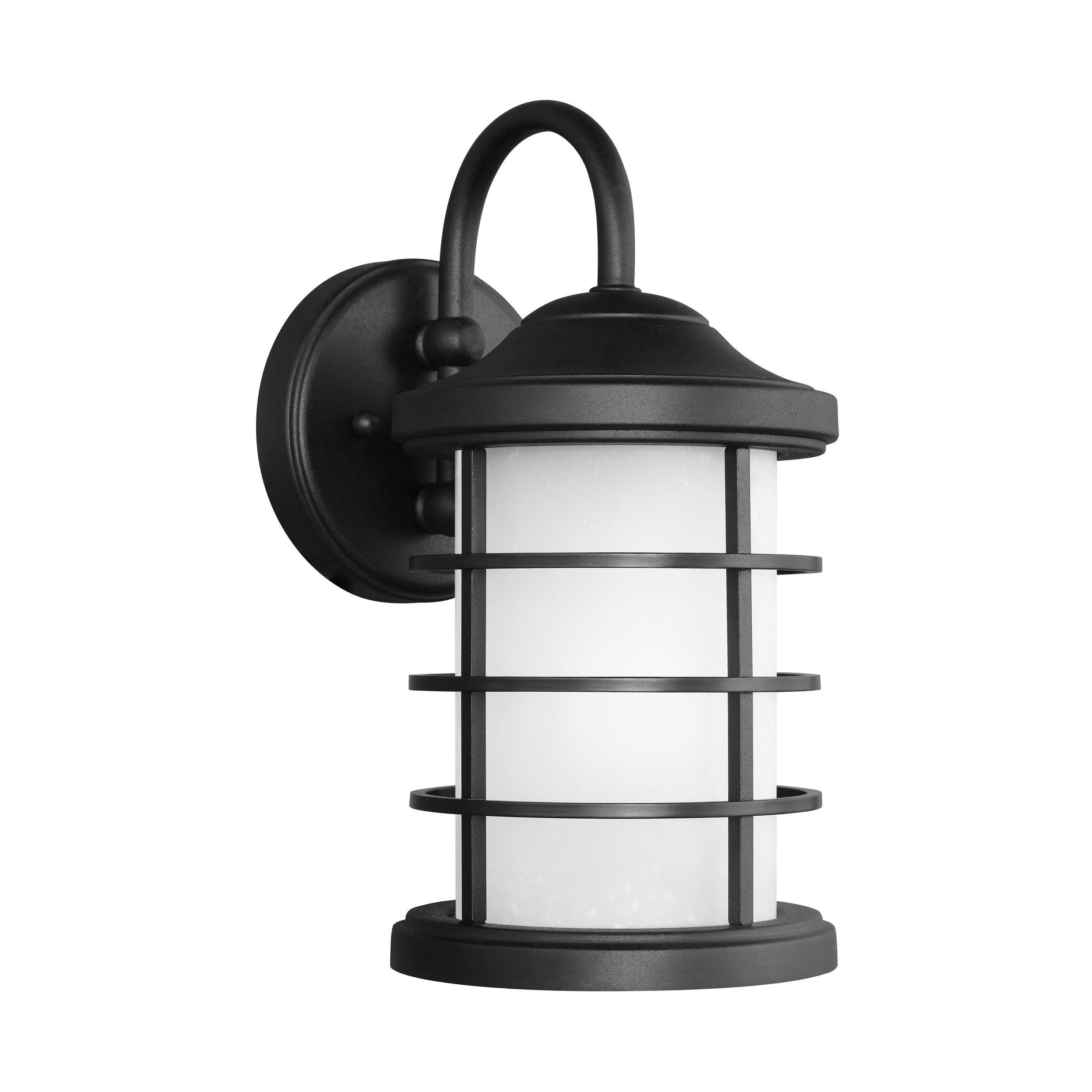 Sea gull sauganash light black outdoor fixture small one light