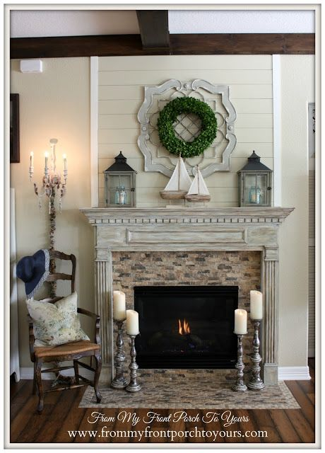 Simple Nautical Summer Mantel French Country Fireplace Country