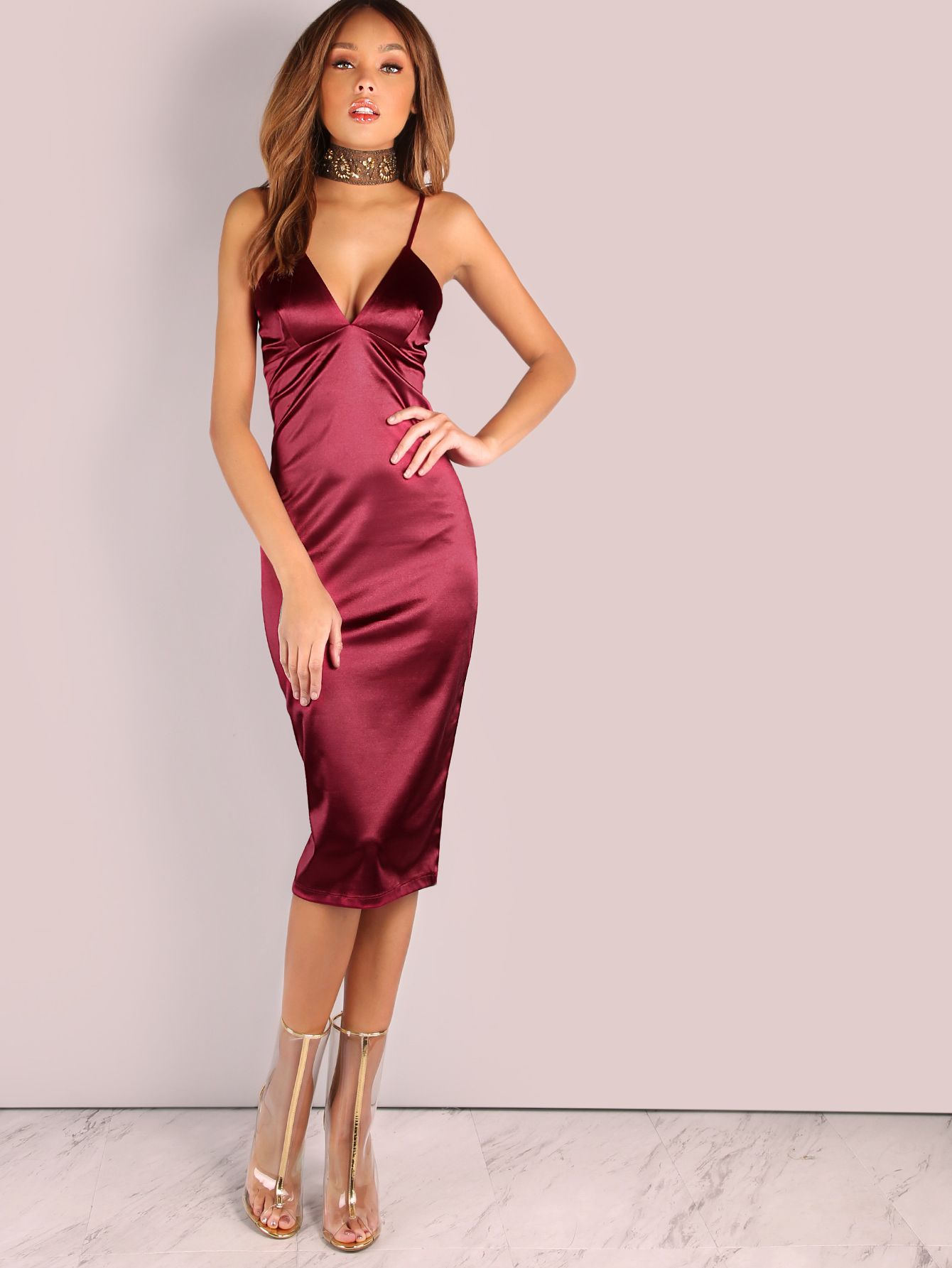 Shop Deep V Satin Bodycon Midi Dress Wine Online Shein Offers Deep V Satin Bodycon Midi Dress Wine More Satin Midi Dress Burgundy Satin Dress Satin Dresses