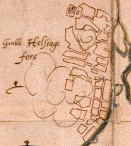 Hans Hanssonin kartta Vantaan Helsingin (Vanhakaupunki) sijainnista vuodelta 1645. Kuva HKM. Alkup. kartta: Tukholma, Riksarkivet.
